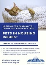 SCAS Funding Scheme to Support Research into Pets in Housing Now Open for Application